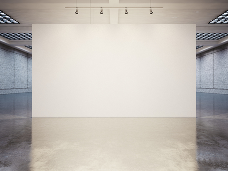 Foto de Mock up of empty white gallery interior with white canvas - Imagen libre de derechos