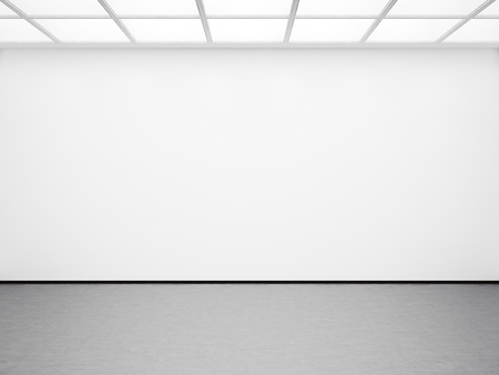 Photo for Mock up of empty white gallery interior with concrete floor - Royalty Free Image