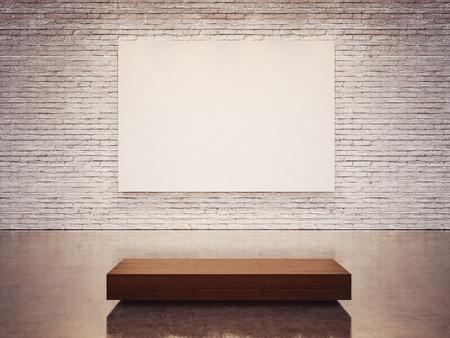 Foto de Mock up of empty white gallery interior with white canvas - Imagen libre de derechos