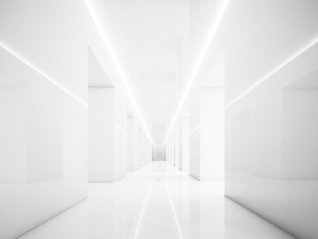 Foto de Empty white corridor in museum interior, with lights and space - Imagen libre de derechos