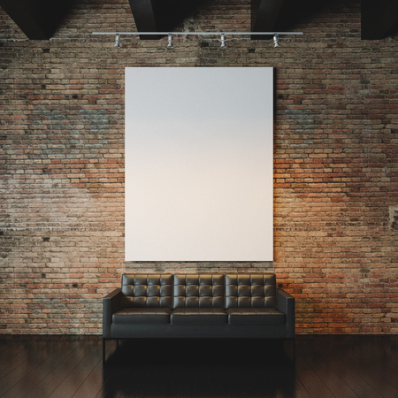 Photo pour Blank white canvas and vintage sofa on the bricks wall background. Vertical - image libre de droit
