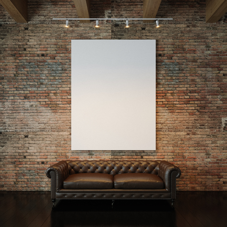 Foto de Blank white canvas and vintage classic sofa against the natural brick wall background. Vertical - Imagen libre de derechos