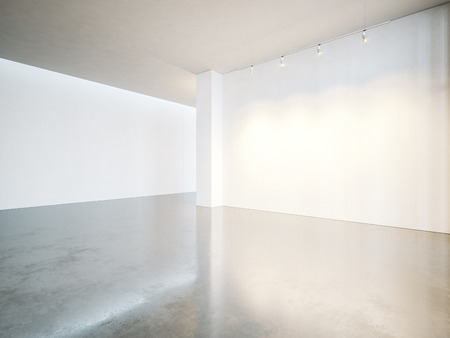Photo for Empty gallery interior with white canvas and concrete floor. - Royalty Free Image