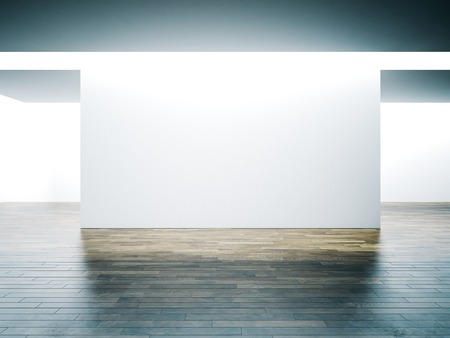 Photo for Big white wall in museum interior with wooden floor. Horizontal - Royalty Free Image