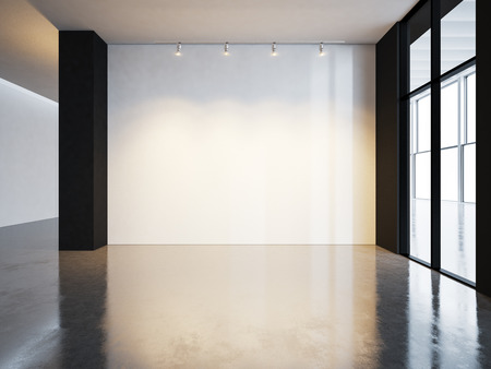 Photo for Blank canvas in museum interior with concrete floor. Horizontal - Royalty Free Image