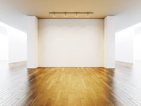 Photo for White gallery interior with empty walls and wooden floor. - Royalty Free Image