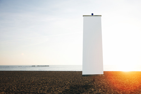 Photo for Empty vertical banner on the beach. Visual effects - Royalty Free Image