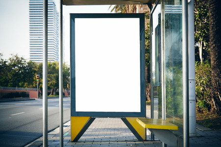 Photo pour Empty lightbox on the bus stop. Horizontal - image libre de droit