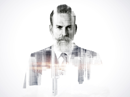 Close-up portrait of businessman. Double exposure photo of panoramic city view at sunrise