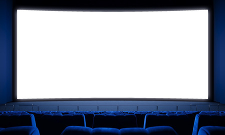 Photo pour Movie theater with empty seats and big white screen. - image libre de droit