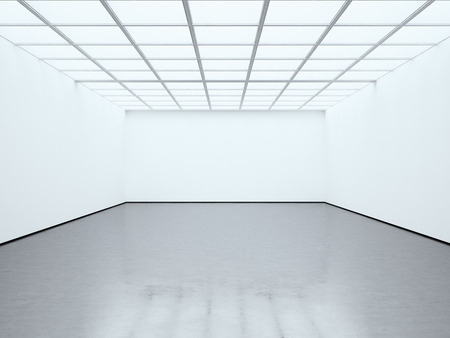 Photo for Photo blank white empty room contemporary gallery. Modern open space expo with concrete floor. Place for business information. - Royalty Free Image