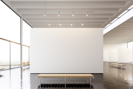 Photo for Picture exposition modern gallery,open space.Blank white empty canvas hanging contemporary art museum. Interior loft style with concrete floor,light spots and generic design furniture. - Royalty Free Image