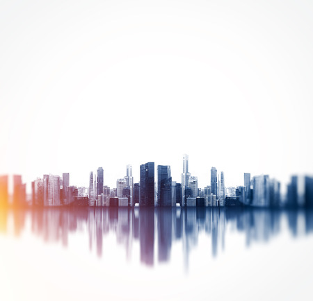 Foto de Panoramic view of a megalopolis with reflection. - Imagen libre de derechos