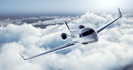 Photo pour Realistic image of White Luxury generic design private jet flying over the earth. Empty blue sky with white clouds at background. Business Travel Concept. Horizontal. - image libre de droit