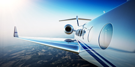Photo pour Closeup Photo of White Luxury Generic Design Private Aircraft Flying in Blue Sky at sunrise.Uninhabited Desert Mountains Background.Business Travel Picture.Horizontal,Film Effect. 3D rendering - image libre de droit