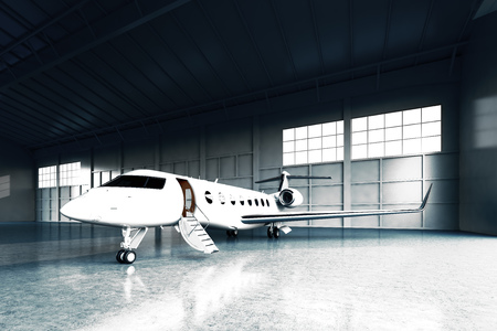 Photo for Photo of White Matte Luxury Generic Design Private Jet parking in hangar airport. Concrete floor. Business Travel Picture. Horizontal, front angle view. Film Effect. 3D rendering - Royalty Free Image