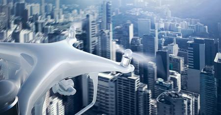 Foto de Closeup Photo White Matte Generic Design Remote Control Air Drone with action camera Flying Sky under City. Modern Megapolis Background. Wide, front side view. Motion Blur Effect. 3D rendering - Imagen libre de derechos