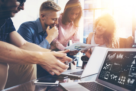 Photo for Startup Diversity Teamwork Brainstorming Meeting Concept.Business Team Coworker Global Sharing Economy Laptop Graph Screen.People Working Planning Start Up.Group Young Man Women Looking Report Office - Royalty Free Image