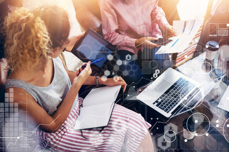 Photo pour Global Connection Virtual Icon Graph Interface Markets Research.Coworkers Team Brainstorming Meeting Online Business Electronic Gadget.Businessman Startup Digital Project.Crops Blurred Background - image libre de droit