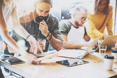 Photo for Startup Diversity Teamwork Brainstorming Meeting Concept.Business Team Coworkers Sharing World Economy Report Document Laptop.People Working Planning Start Up.Group Young Man Women Discussing Office - Royalty Free Image