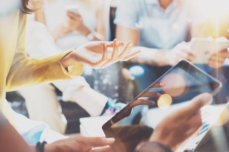 Foto de Closeup Startup Diversity Teamwork Brainstorming Meeting Concept.Business Team Coworker Analyze Strategy Laptop Process.Brainstorm People Working Start Up.Group Young Hipsters Using Gadget Hand Flares - Imagen libre de derechos