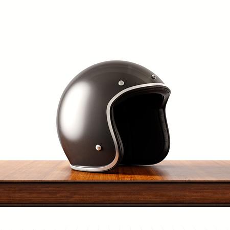 Foto de Side view of black color retro style motorcycle helmet on natural wooden desk.Concept classic object white background.Square.3d rendering - Imagen libre de derechos