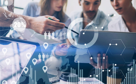 Photo for Concept of digital diagram,graph interfaces,virtual screen,connections icon on blurred background.Coworking team meeting. - Royalty Free Image