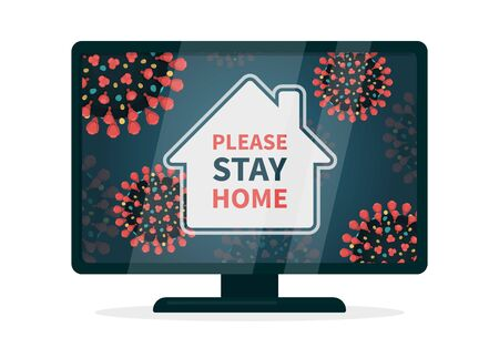 Illustration pour It is safer to comply with quarantine. Stay home hashtag because of covid-19 infection. Flat vector illustration a tv that displays a house that is surrounded with coronavirus with red spikes. - image libre de droit