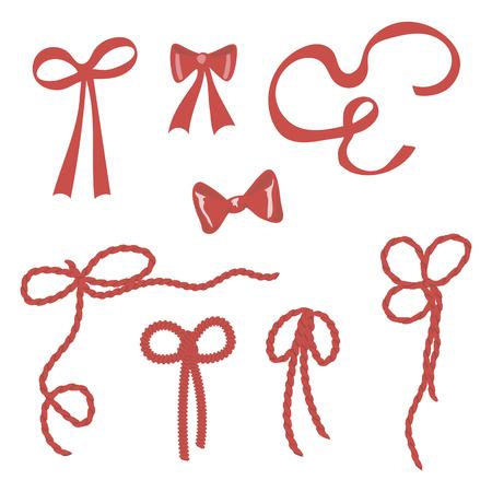 Ilustración de simple vector bright red bows, ribbons, rope, tie on gifts isolated on white background - Imagen libre de derechos