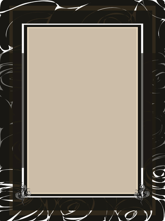 Ilustración de A beige paper card-with border on the black and white background - Imagen libre de derechos