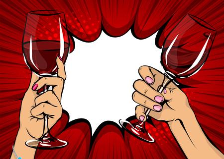 Ilustración de Pop art woman hand hold red wine glass vintage illustration. - Imagen libre de derechos