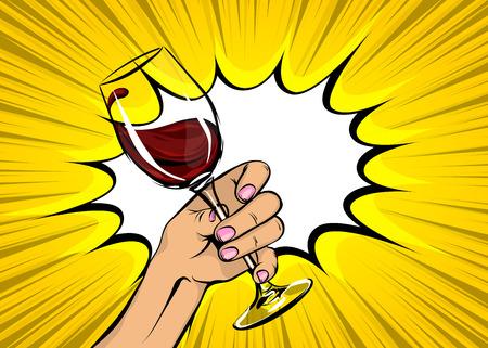 Illustration pour Pop art woman hand hold red wine glass vintage - image libre de droit