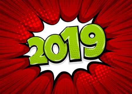 Ilustración de 2019 happy new year christmas comic text speech bubble. Colored pop art style sound effect. Halftone vector illustration banner. Vintage comics book poster. Colored funny cloud font. - Imagen libre de derechos