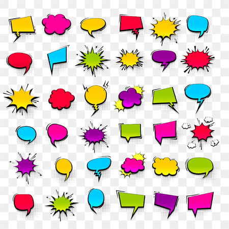 Ilustración de Big set hand drawn colored blank effects template comic speech bubbles halftone dot vector background in pop art style. Dialog empty cloud, space for text. Creative comics book conversation chat - Imagen libre de derechos