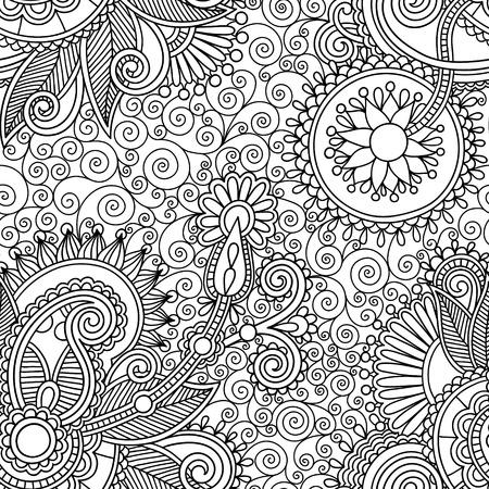 Illustration pour digital drawing black and white ornate seamless flower paisley design background - image libre de droit