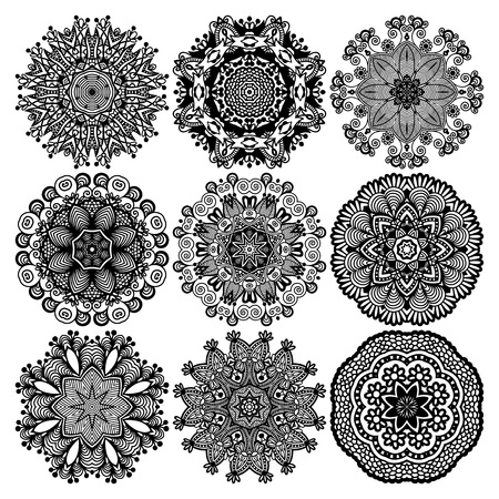Illustration for Circle lace ornament, round ornamental geometric doily pattern, black and white collection - Royalty Free Image