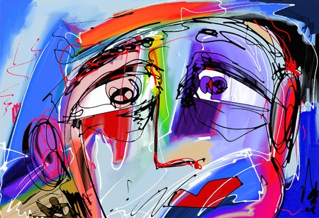 Illustration pour original abstract digital painting of human face, colorful composition in contemporary modern art, perfect for interior design, page decoration, web and other, vector illustration - image libre de droit