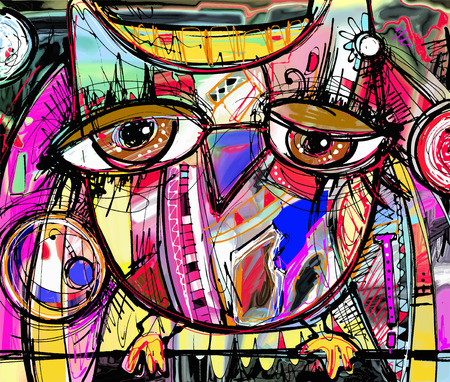 Ilustración de original abstract digital painting artwork of doodle owl, colored poster print pattern, vector illustration - Imagen libre de derechos