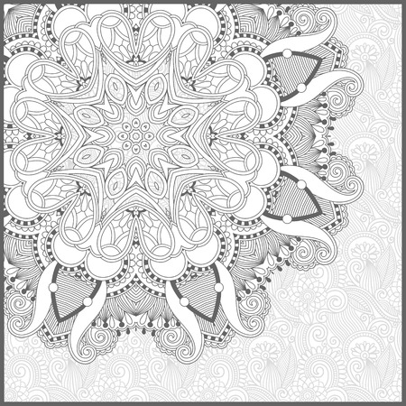 Illustration for unique coloring book square page for adults - floral authentic carpet design, joy to older children and adult colorists, who like line art and creation, vector illustration - Royalty Free Image