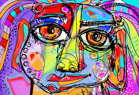 Ilustración de original abstract digital painting of human face, colorful composition in contemporary modern art, perfect for interior design, page decoration, web and other, vector illustration - Imagen libre de derechos