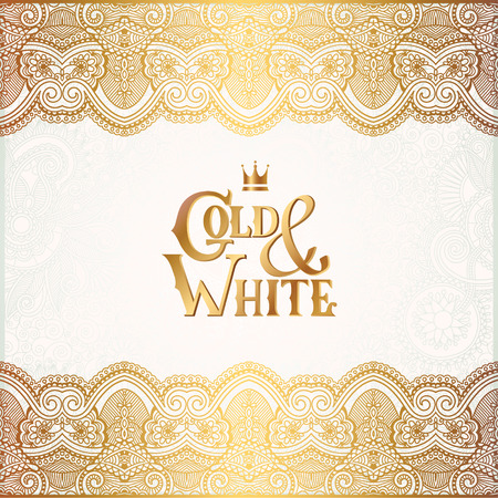 Illustration for elegant floral ornamental background with inscription Gold and White, golden decor on light pattern, can be use for invitation, wedding, greeting card, cover, paking, vector illustration - Royalty Free Image