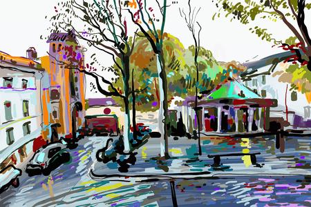Ilustración de digital painting of Paris landscape, contemporary art vector illustration - Imagen libre de derechos