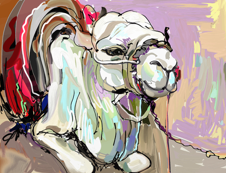 Ilustración de original digital painting artwork of white camel, vector illustration - Imagen libre de derechos