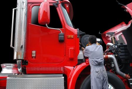 Repairing a truck.