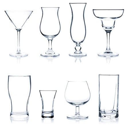 Cocktail Glass Collection - Most popular cocktail and wine glasses. Isolated on white background