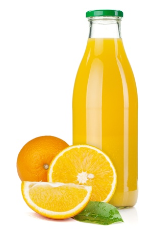 Foto de Orange juice glass bottle and oranges. Isolated on white background - Imagen libre de derechos