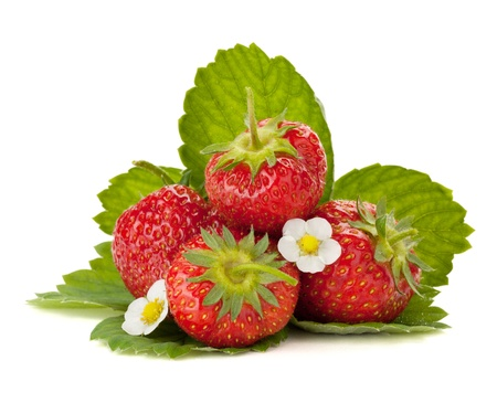 Photo for Strawberry fruits with flowers and green leaves. Isolated on white background - Royalty Free Image
