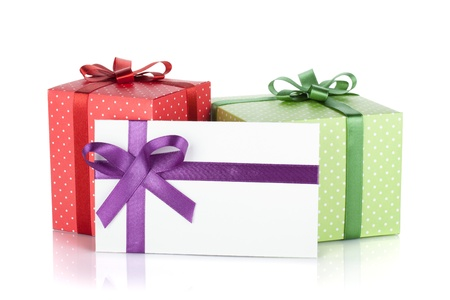 Photo for Colorful gift boxes and letter with ribbon and bow  Isolated on white background - Royalty Free Image