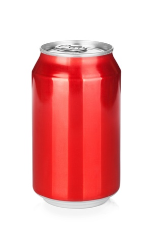 Foto de Aluminum red soda can. Isolated on white background - Imagen libre de derechos