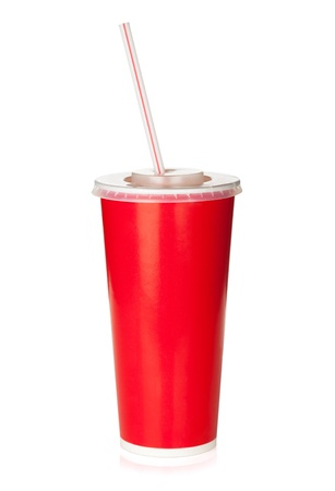 Foto de Red disposable cup with drinking straw. Isolated on white background - Imagen libre de derechos